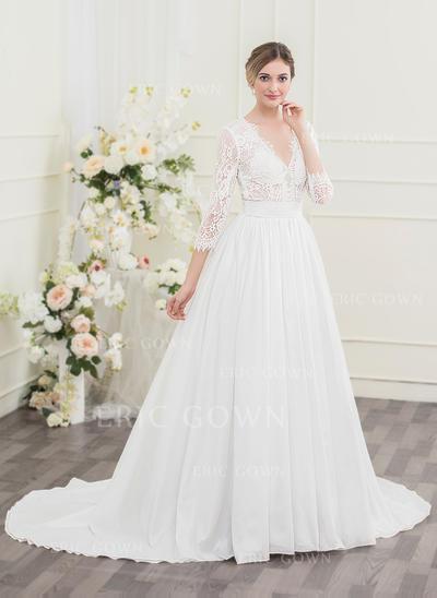Ball-Gown V-neck Court Train Taffeta Lace Wedding Dress With Ruffle (002095842)