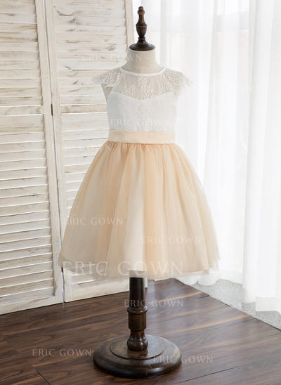 A-Line/Princess Knee-length Flower Girl Dress - Tulle/Lace Sleeveless Scoop Neck (010148814)