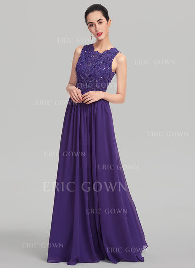 A-Line/Princess Scoop Neck Floor-Length Chiffon Evening Dress With Beading Sequins (017137349)