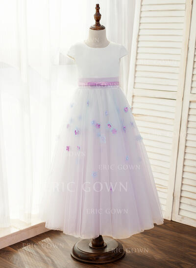 A-Line/Princess Floor-length Flower Girl Dress - Satin/Tulle Sleeveless Scoop Neck With Flower(s)/Bow(s) (010146197)