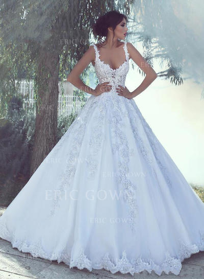 Ball-Gown V-neck Sweep Train Wedding Dresses With Appliques (002217844)