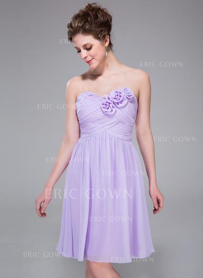 A-Line/Princess Sweetheart Knee-Length Bridesmaid Dresses With Ruffle Flower(s) (007037325)