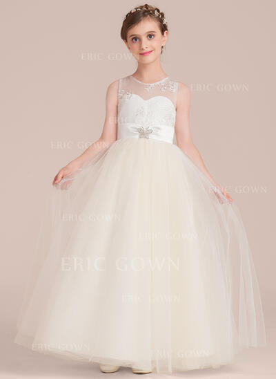 Floor-length Flower Girl Dress - Tulle/Charmeuse/Lace Sleeveless Scoop Neck With Sash/Beading (010136607)