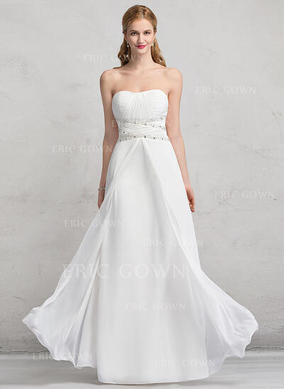 A-Line/Princess Sweetheart Floor-Length Chiffon Wedding Dress With Ruffle Beading Sequins (002081894)