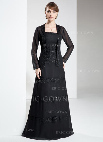 A-Line/Princess Chiffon Sleeveless Strapless Floor-Length Zipper Up Mother of the Bride Dresses (008213109)