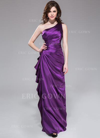 Sheath/Column One-Shoulder Floor-Length Charmeuse Bridesmaid Dress With Beading Cascading Ruffles (007051842)