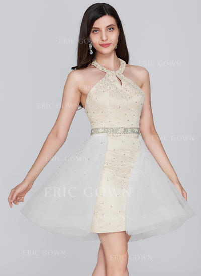Sheath/Column Halter Short/Mini Tulle Lace Homecoming Dresses With Beading Sequins (022214154)