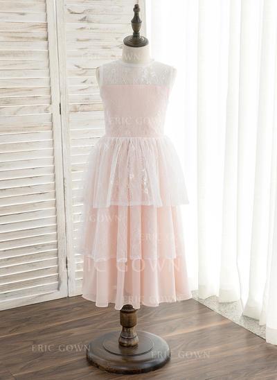 A-Line/Princess Tea-length Flower Girl Dress - Chiffon/Lace Sleeveless Scoop Neck (010148808)