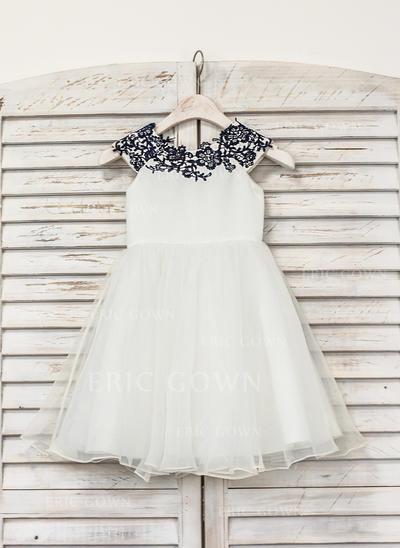 Stunning Scoop Neck A-Line/Princess Flower Girl Dresses Knee-length Organza Sleeveless (010210137)