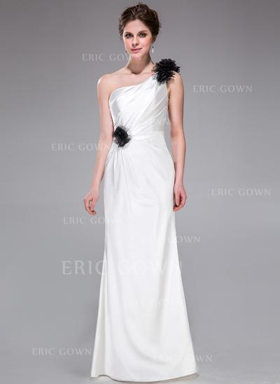 Sheath/Column Charmeuse Bridesmaid Dresses Ruffle Flower(s) One-Shoulder Sleeveless Floor-Length (007026194)