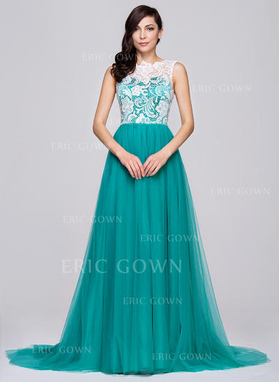 A-Line/Princess Scoop Neck Court Train Prom Dresses (018064194)
