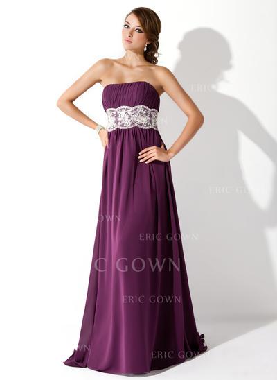 Empire Sweep Train Prom Dresses Strapless Chiffon Sleeveless (018005060)