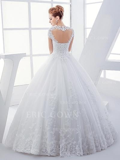 Ball-Gown Tulle Short Sleeves Square Floor-Length Wedding Dresses (002147880)