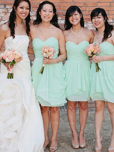 Sheath/Column Sweetheart Knee-Length Bridesmaid Dresses With Cascading Ruffles (007145015)