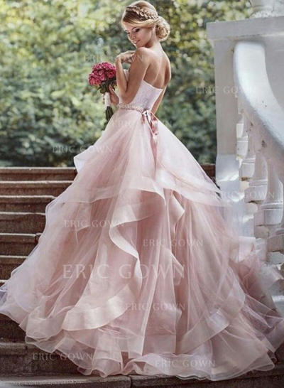 Ball-Gown Sweetheart Court Train Wedding Dresses With Beading Cascading Ruffles (002144885)