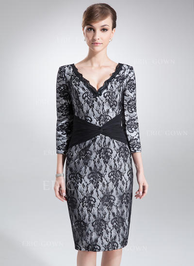 Sheath/Column Charmeuse Lace 3/4 Sleeves V-neck Knee-Length Zipper Up Mother of the Bride Dresses (008005966)