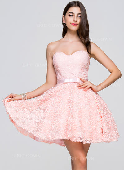 A-Line/Princess Sweetheart Short/Mini Homecoming Dresses With Bow(s) (022214062)