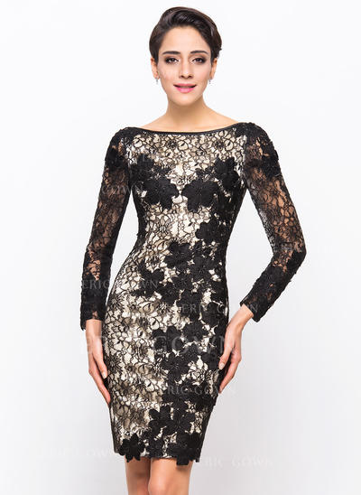 Sheath/Column Scoop Neck Knee-Length Lace Cocktail Dress (016055939)