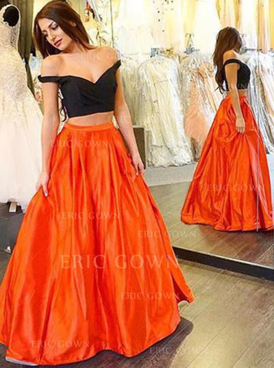 Ball-Gown V-neck Floor-Length Prom Dresses (018145998)