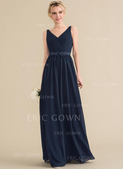 A-Line/Princess V-neck Floor-Length Chiffon Bridesmaid Dress With Ruffle Bow(s) (007144768)