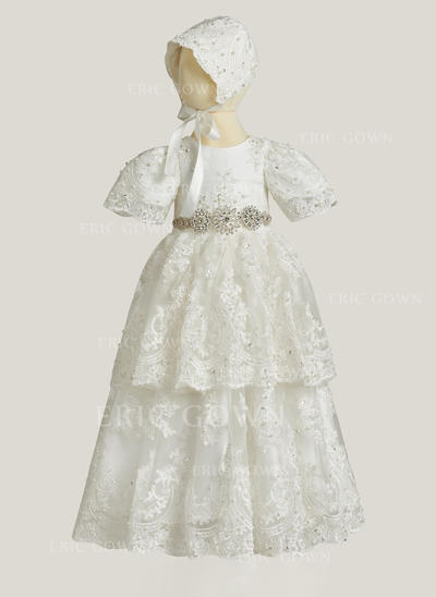 A-Line/Princess Scoop Neck Floor-length Lace Christening Gowns With Rhinestone (2001216854)