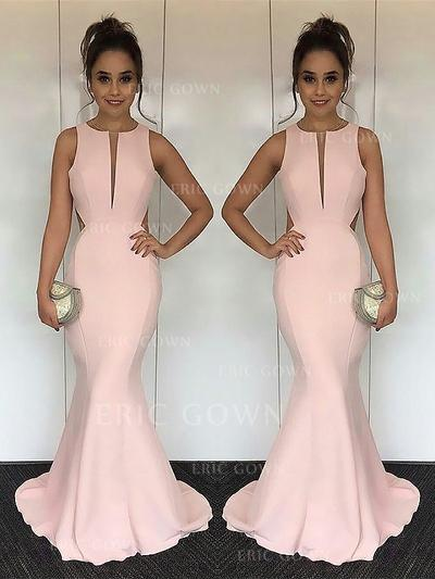 Trumpet/Mermaid Scoop Neck Sweep Train Satin Evening Dresses With Ruffle (017217178)