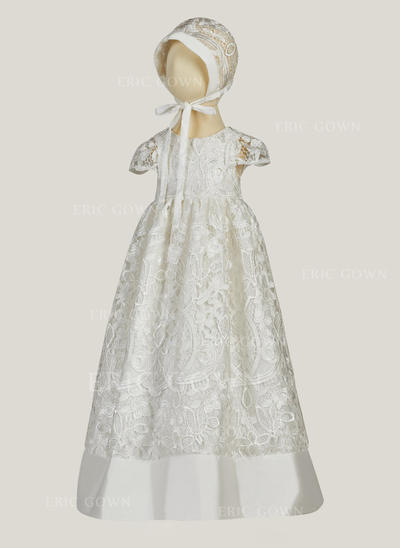 A-Line/Princess Scoop Neck Floor-length Satin Christening Gowns With Lace (2001216826)