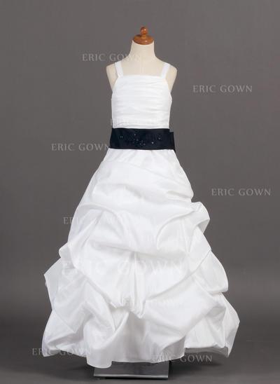 Princess A-Line/Princess Flower Girl Dresses Floor-length Taffeta Sleeveless (010005776)