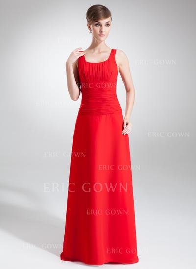 A-Line/Princess Chiffon Bridesmaid Dresses Ruffle Scoop Neck Sleeveless Floor-Length (007001869)