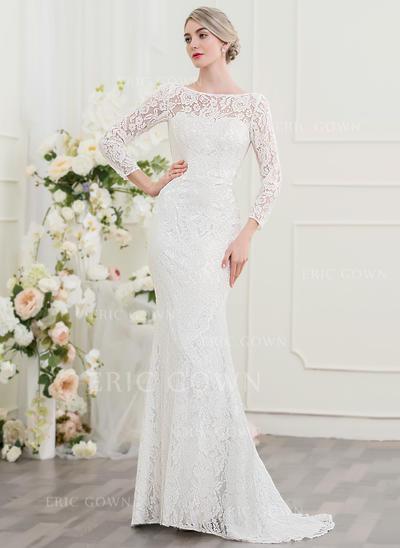 Trumpet/Mermaid Scoop Neck Sweep Train Lace Wedding Dress (002097355)
