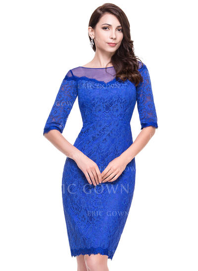 Sheath/Column Scoop Neck Knee-Length Lace Cocktail Dress (016065516)