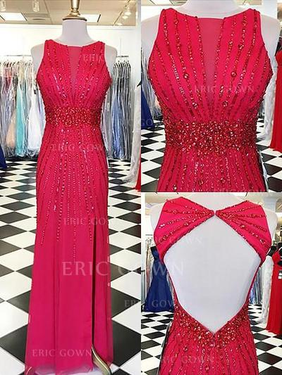 Sheath/Column Chiffon Prom Dresses Beading Scoop Neck Sleeveless Floor-Length (018148479)