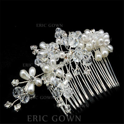 """Combs & Barrettes Wedding/Special Occasion/Casual/Outdoor/Party/Carnival/Art photography Crystal/Imitation Pearls 5.91""""(Approx.15cm) 3.15""""(Approx.8cm) Headpieces (042159315)"""