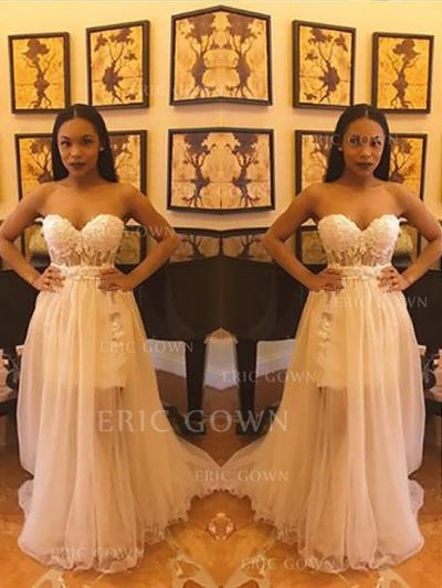 A-Line/Princess Sweetheart Sweep Train Prom Dresses With Lace Split Front (018218474)