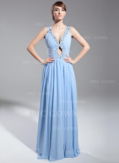A-Line/Princess V-neck Floor-Length Evening Dresses With Ruffle Beading Sequins (017014691)