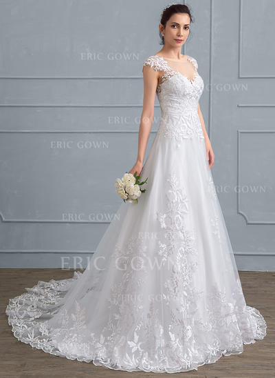 A-Line/Princess Scoop Neck Court Train Tulle Lace Wedding Dress (002111937)