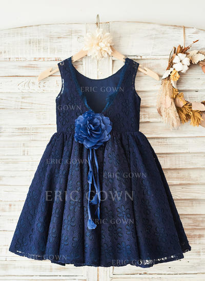 Elegant Scoop Neck A-Line/Princess Flower Girl Dresses Knee-length Lace Sleeveless (010210171)