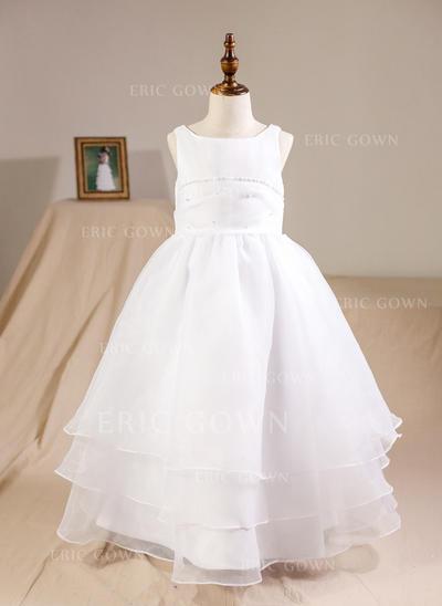Ball Gown Floor-length Flower Girl Dress - Organza Sleeveless Scoop Neck With Beading (010094156)