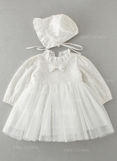 A-Line/Princess Peter Pan Collar Floor-length Tulle Lace Christening Gowns (2001216778)