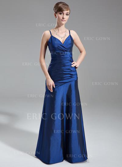 A-Line/Princess Taffeta Bridesmaid Dresses Ruffle V-neck Sleeveless Floor-Length (007001739)