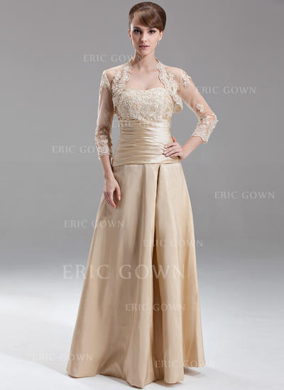 A-Line/Princess Sweetheart Floor-Length Bridesmaid Dresses With Ruffle Beading Appliques Lace (007197349)