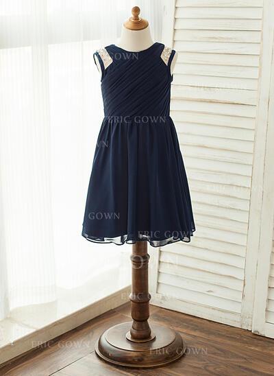A-Line/Princess Knee-length Flower Girl Dress - Chiffon Sleeveless Scoop Neck With Beading/Pleated (010122569)