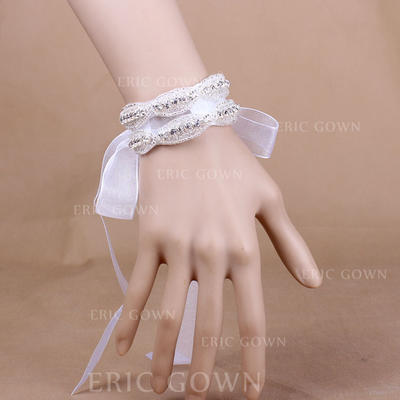 "Wrist Corsage Wedding/Party Crystal/Organza 1.18"" (Approx.3cm) The color of embellishments are shown as picture/The length of wrist corsage is adjustable Wedding Flowers (123188770)"