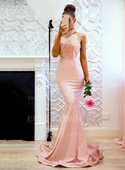 Trumpet/Mermaid Halter Sweep Train Prom Dresses With Lace (018218659)