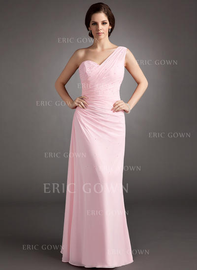 A-Line/Princess Floor-Length Prom Dresses One-Shoulder Chiffon Sleeveless (018004997)