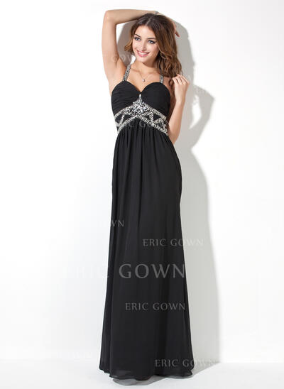 A-Line/Princess Sweetheart Floor-Length Chiffon Evening Dress With Ruffle Beading (017017409)