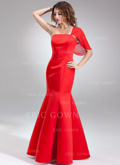 Trumpet/Mermaid Satin Bridesmaid Dresses One-Shoulder Sleeveless Floor-Length (007197326)
