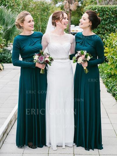 A-Line/Princess Jersey Bridesmaid Dresses Ruffle Scoop Neck Long Sleeves Floor-Length (007145010)