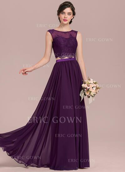 A-Line/Princess Scoop Neck Floor-Length Chiffon Lace Bridesmaid Dress (007126465)