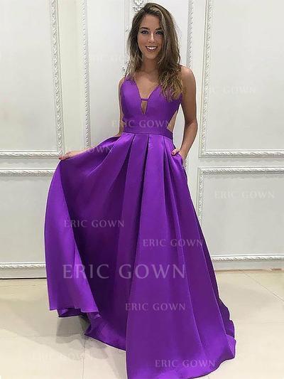 A-Line/Princess V-neck Floor-Length Satin Evening Dresses With Ruffle (017217193)